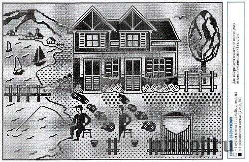 Филейная занавеска «домик у
