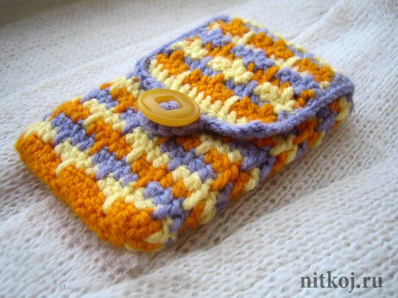 Начать вязания со дна чехла: