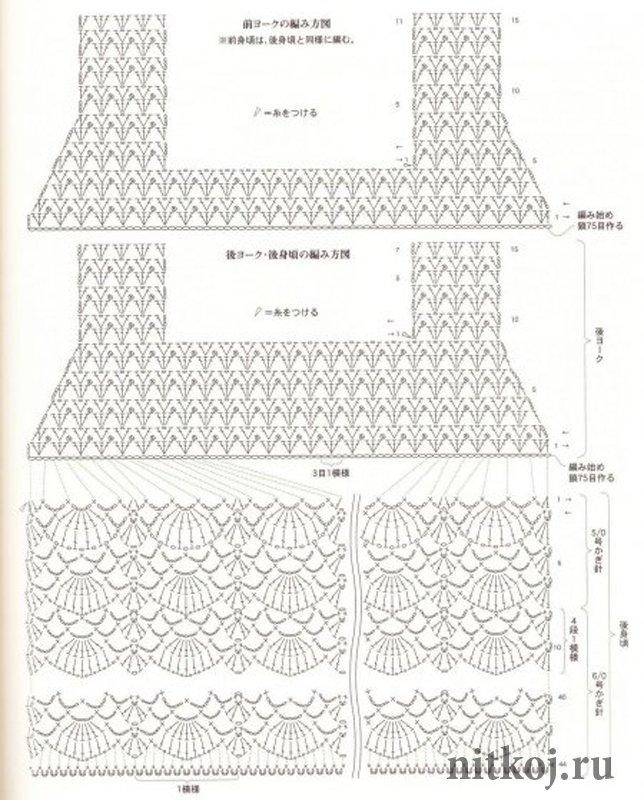 Сарафан вязанный крючком, схема вязания сарафана для девочки