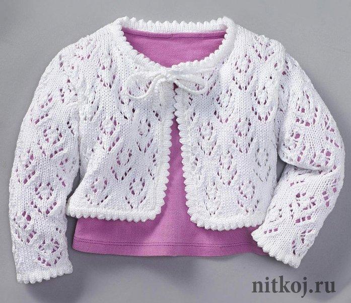 Вязанье летней кофточки для девочки 877