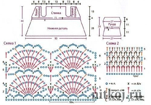 Схемы вязания летних кофточек для девочек 548