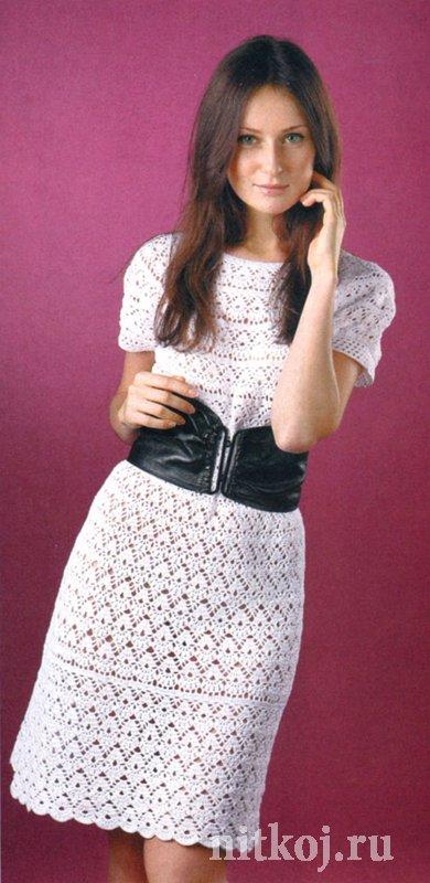 Белое платье крючком с круглой