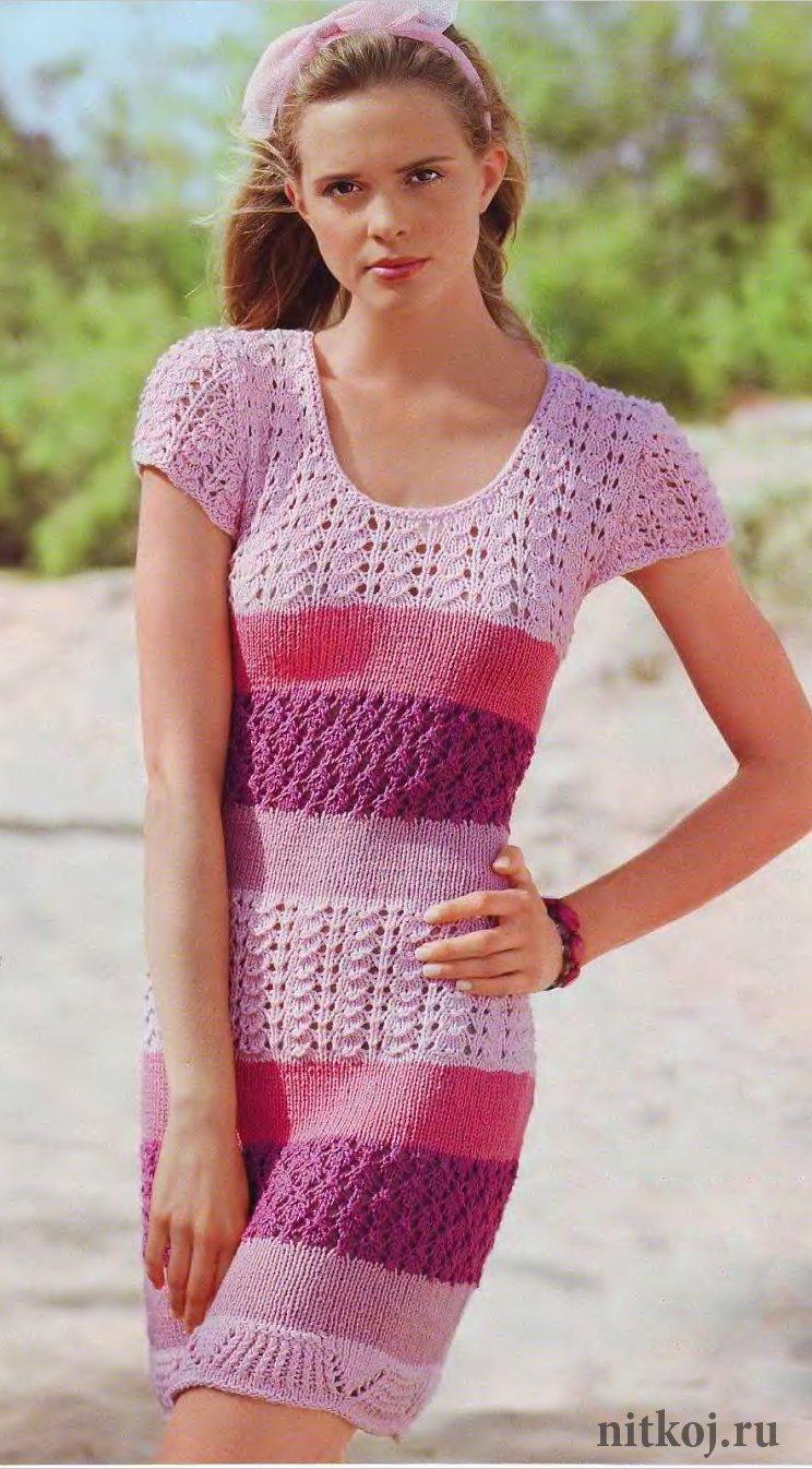 узорчатое летнее платье своими руками ниткой вязаные вещи для