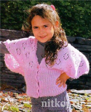 Ажурная жакет-накидка <i>вязание для девочек лето</i> для девочки спицами