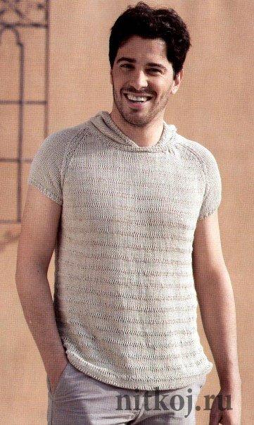 Летний мужской пуловер спицами