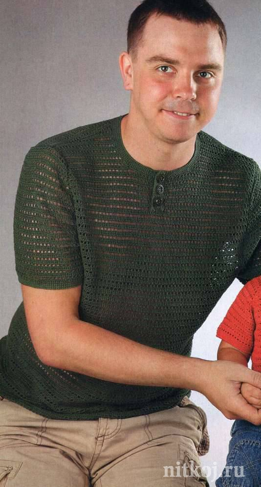 схема вязаной мужской футболки