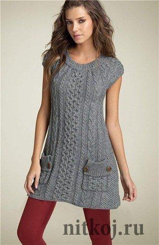 Платье – туника спицами. Схема