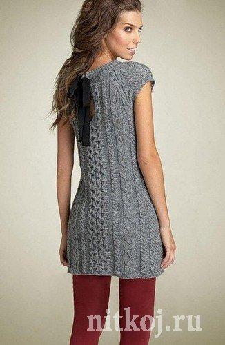 Платье – туника спицами
