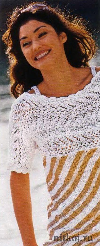 вязание спицами ажурная кокетка