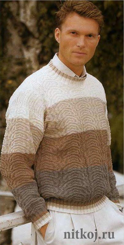 Вязание мужского свитера 56 размера 987