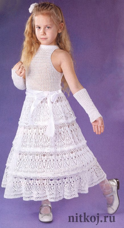 Белое Ажурное Вязаное Платье