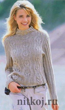 Синий пуловер с коротким рукавом