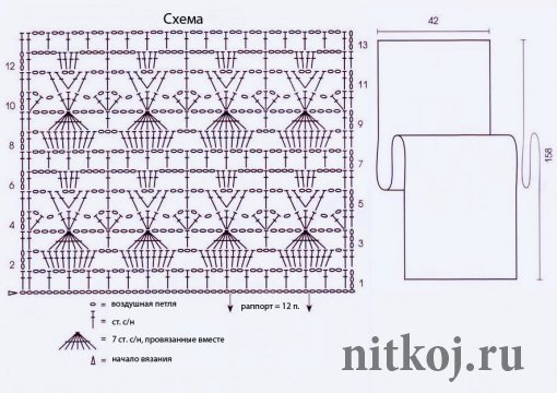 Палантин вязание крючком со схемами