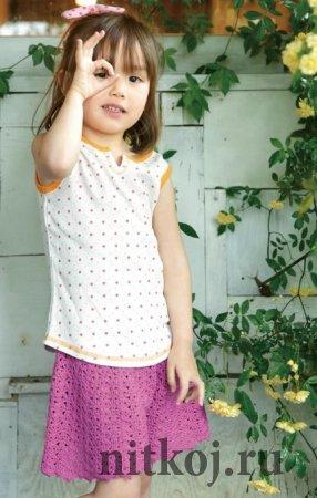 Шорты-юбка крючком Шорты-юбка крючком Детские вязаные юбки крючком, рост 110 см. Схемы вязания юбки для девочки.