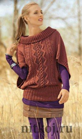 Узорчатый пуловер – пончо