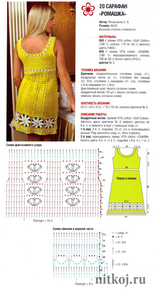 Схема вязания крючком летнего платья или сарафана 644