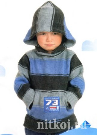 Детский пуловер спицами с капюшоном