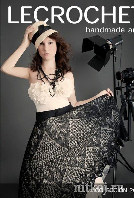 Ажурная юбка спицами схема и