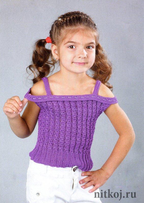 Фиолетовый топ спицами для