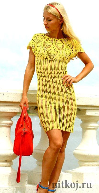 Платье ананасами крючком