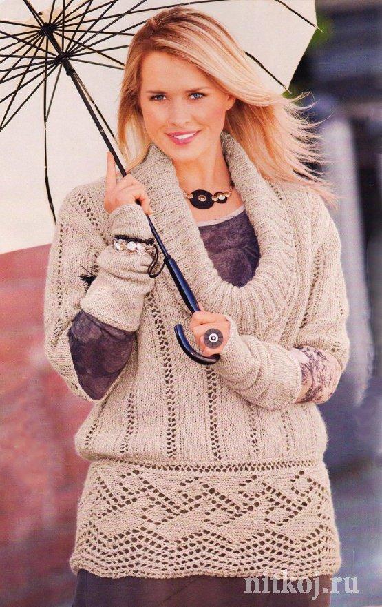 Ажурный пуловер спицами схемы