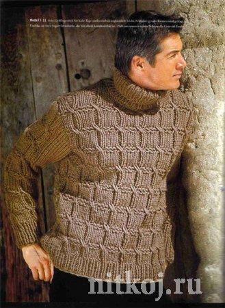 Стильный вязаный мужской шарф спицами схемы и 50
