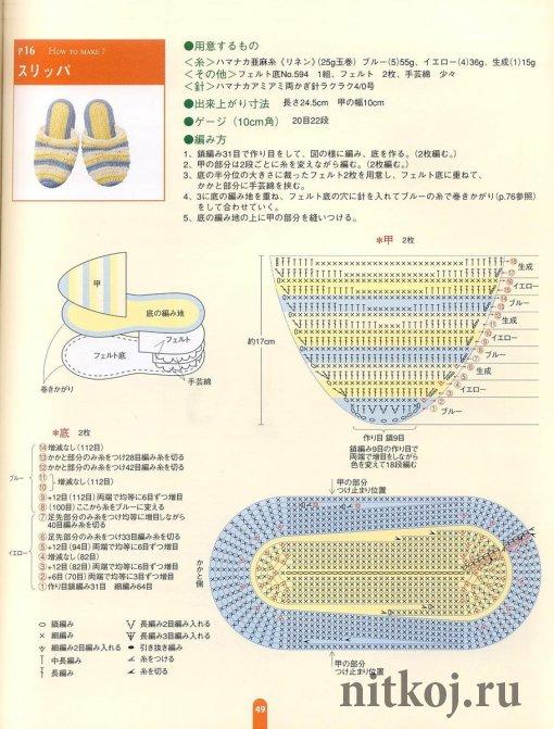 Вязания тапочек фото схемы