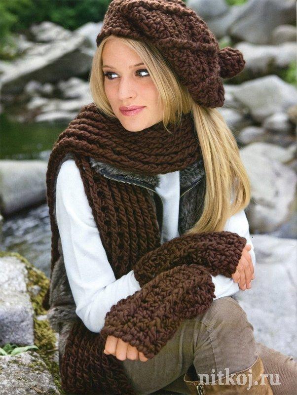 Объёмная шапка крючком + шарф