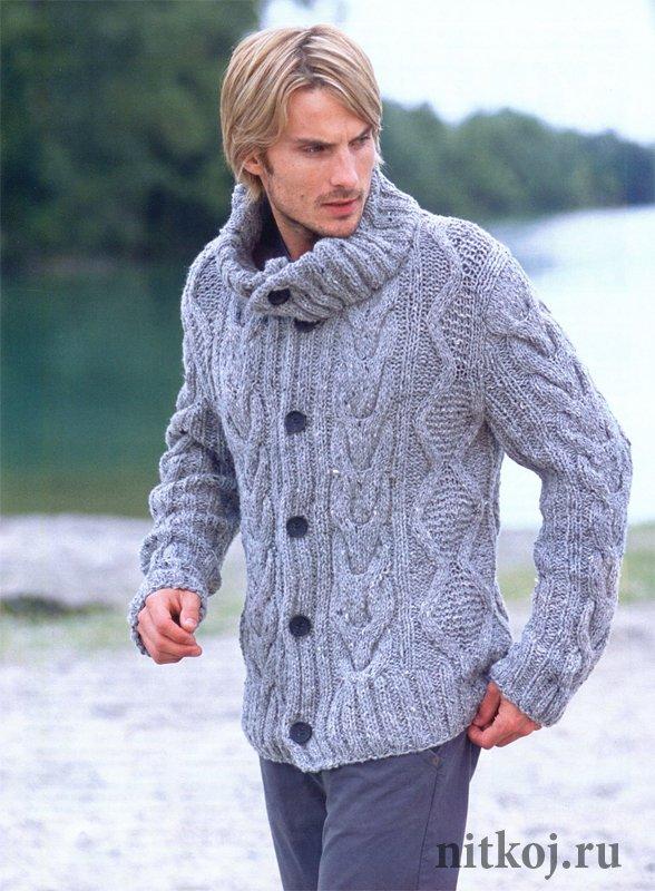 Свитер мужской вязание свитер на пуговицах