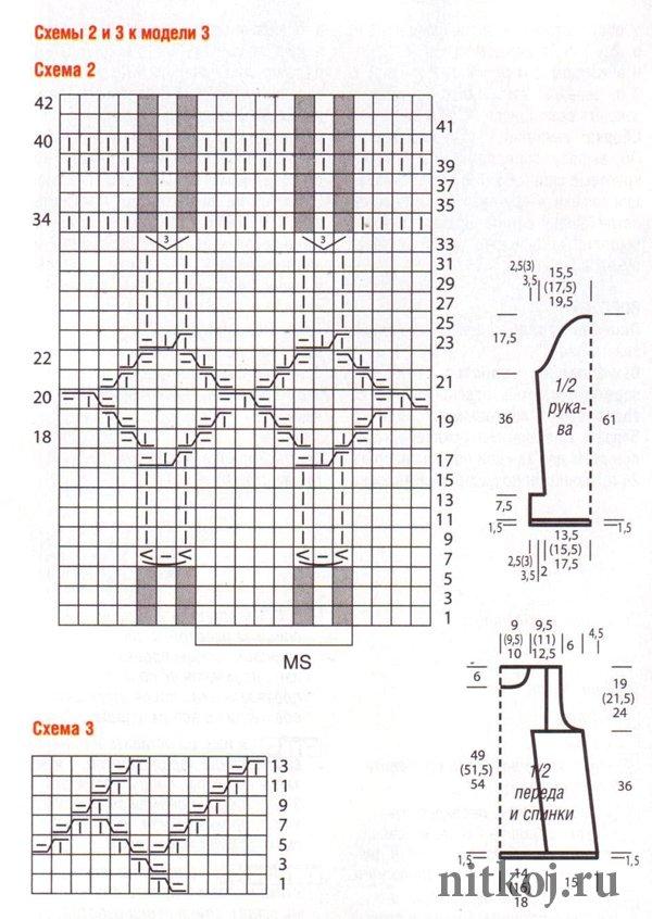 схема вязания бесшовного свитера