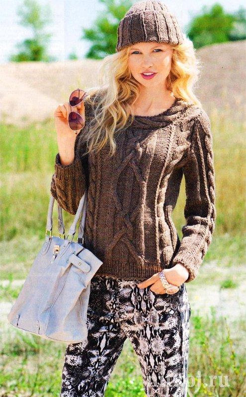 вязаный свитер с косами ниткой вязаные вещи для вашего дома