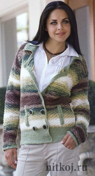 Вязание для полных. Жакет для пышных дам спицами Knitting 73