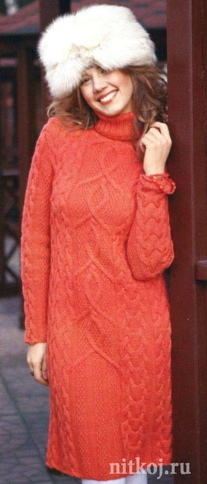 9a326460f6ed989 Зимнее платье спицами » Ниткой - вязаные вещи для вашего дома ...