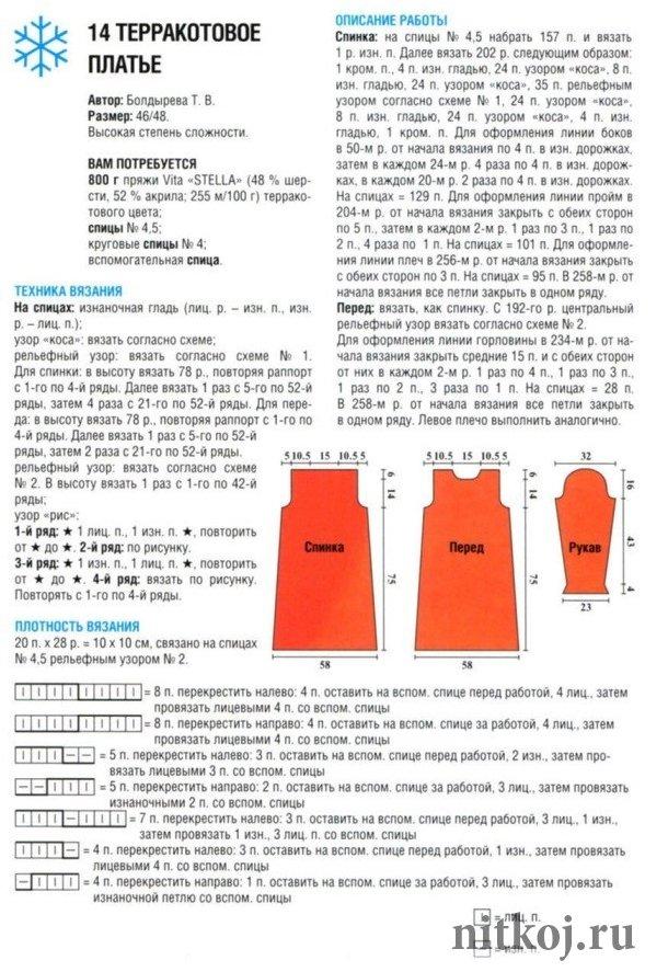 Платье спицами для зимы схемы