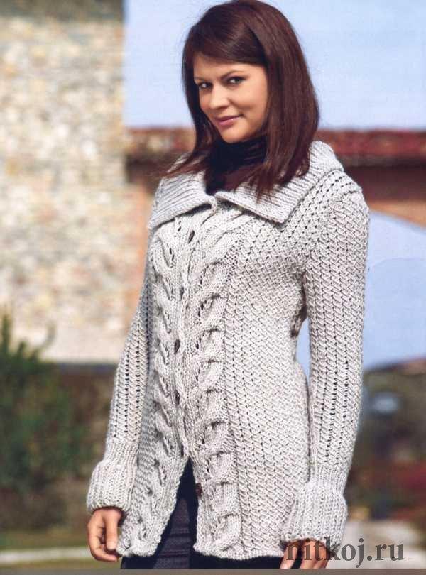 Пальто вязаные спицами для женщин