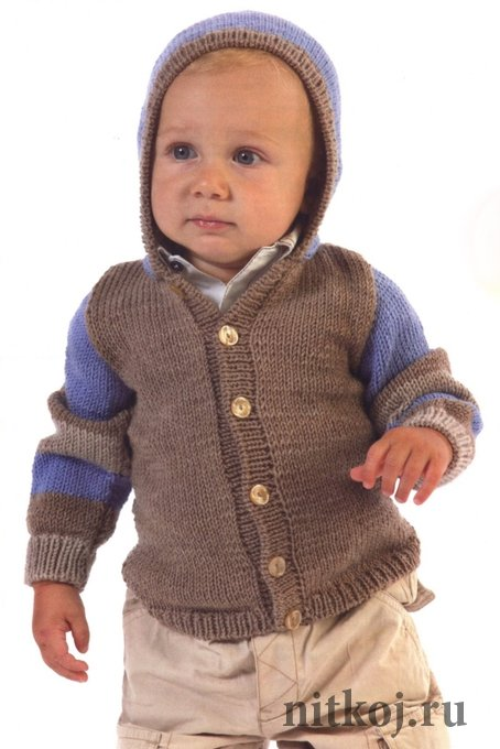 детская кофточка спицами с капюшоном ниткой вязаные вещи для