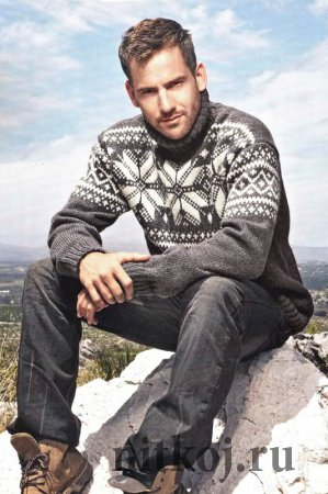 Мужской пуловер спицами с жаккардовым узором
