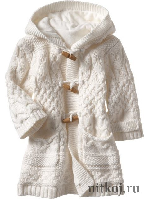 Пестрое пальто для девочки вязаное спицами и крючком | петелики