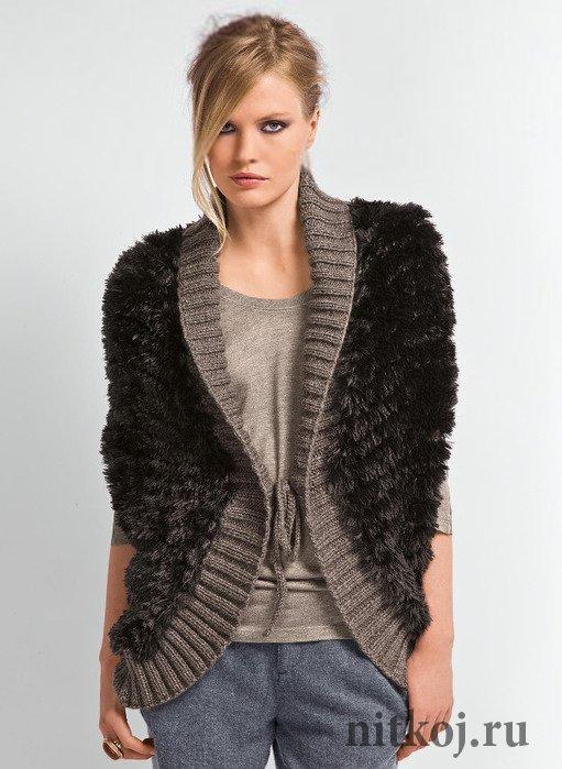 Вязание крючком пальто для девочек из травки 692