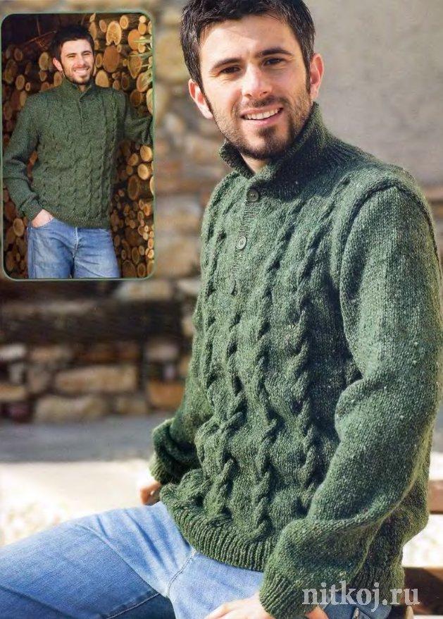 мужской свитер спицами на пуговицах ниткой вязаные вещи для