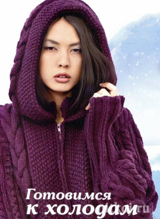 Теплое пальто спицами с