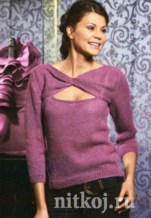 Блуза спицами с перекрученной кокеткой