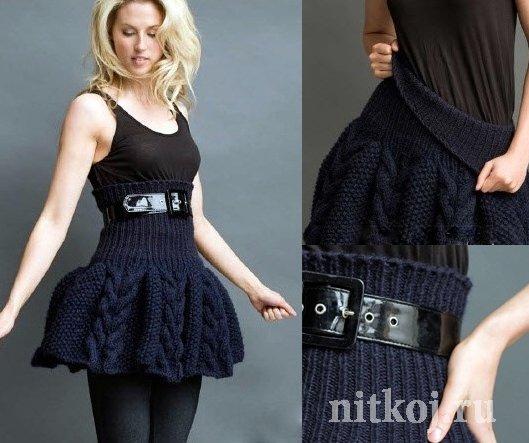 Вязаная юбка спицами с высоким