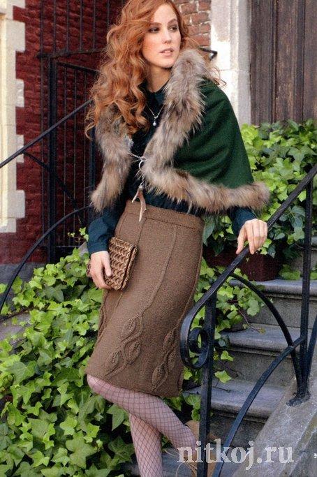 длинная теплая юбка спицами ниткой вязаные вещи для вашего дома