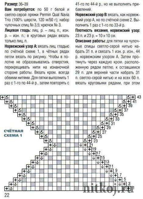 Следки вязания спицами схемы вязания подробно