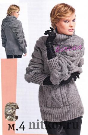 Узорчатый пуловер спицами с объемными рукавами