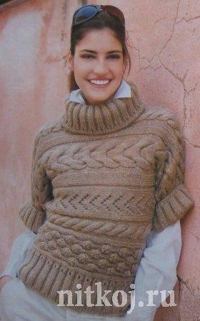 Джемпер, поперечное вязание