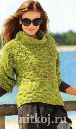 Поперечный пуловер спицами схема