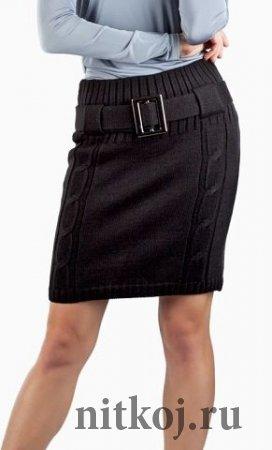 Деловая юбка спицами