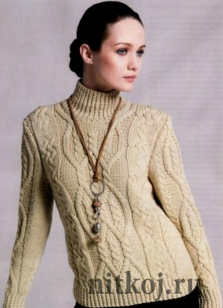 Водолазка – свитер спицами с аранами